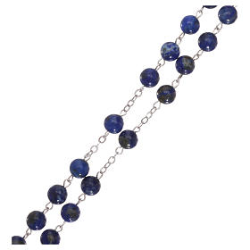 Rosary with grains in genuine lapis 6 mm s3
