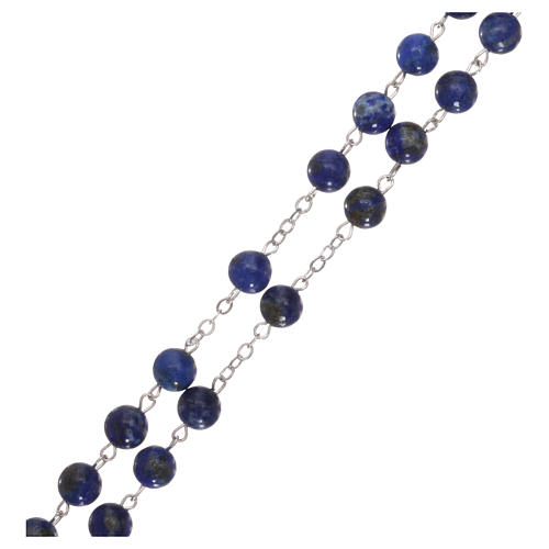 Rosary with grains in genuine lapis 6 mm 3