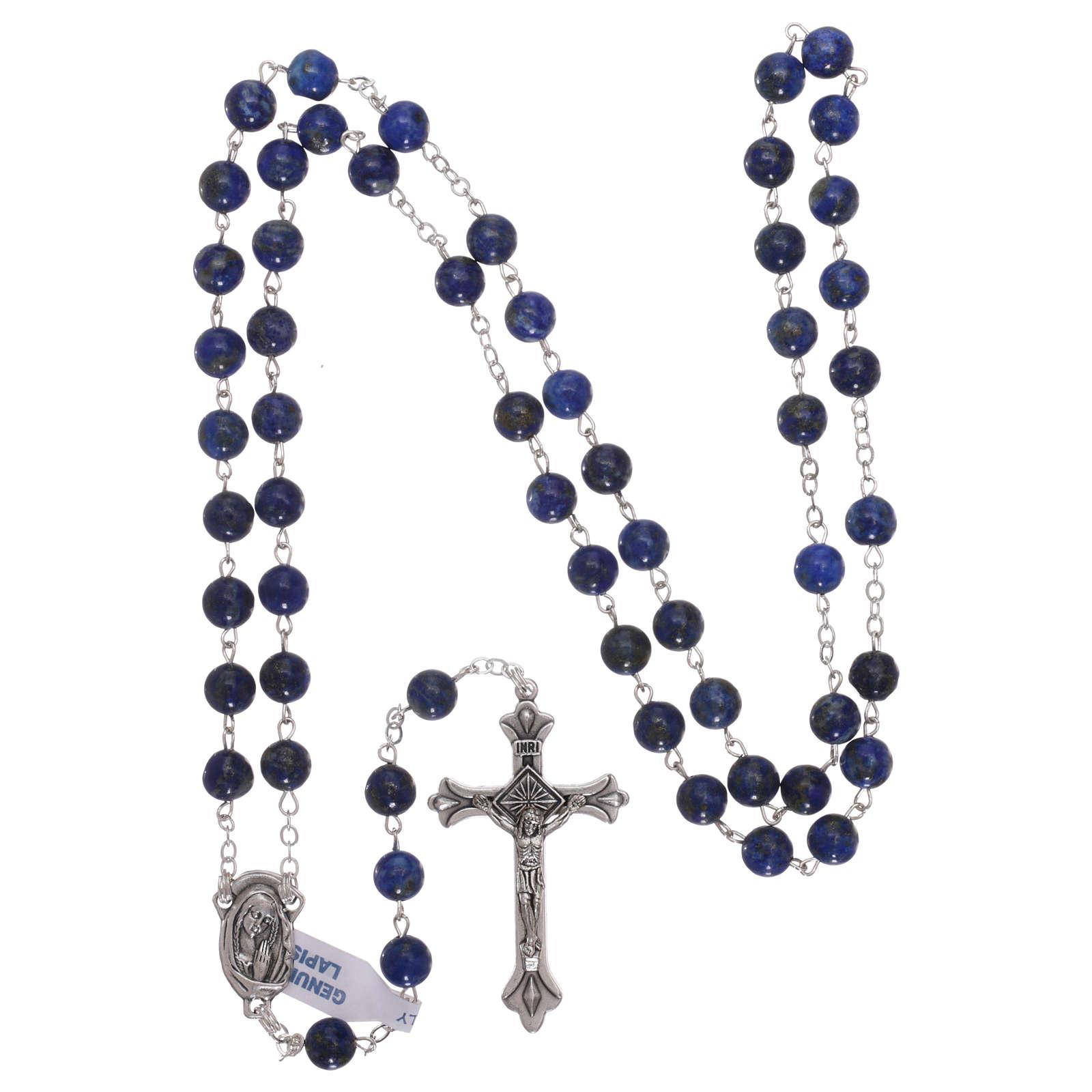 Rosario con perle di pietra dura lapislazzuli mm 6 4