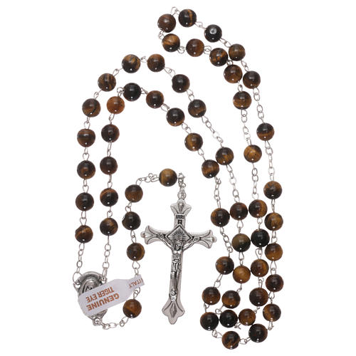Rosary with grains in genuine tiger eye 6 mm 4