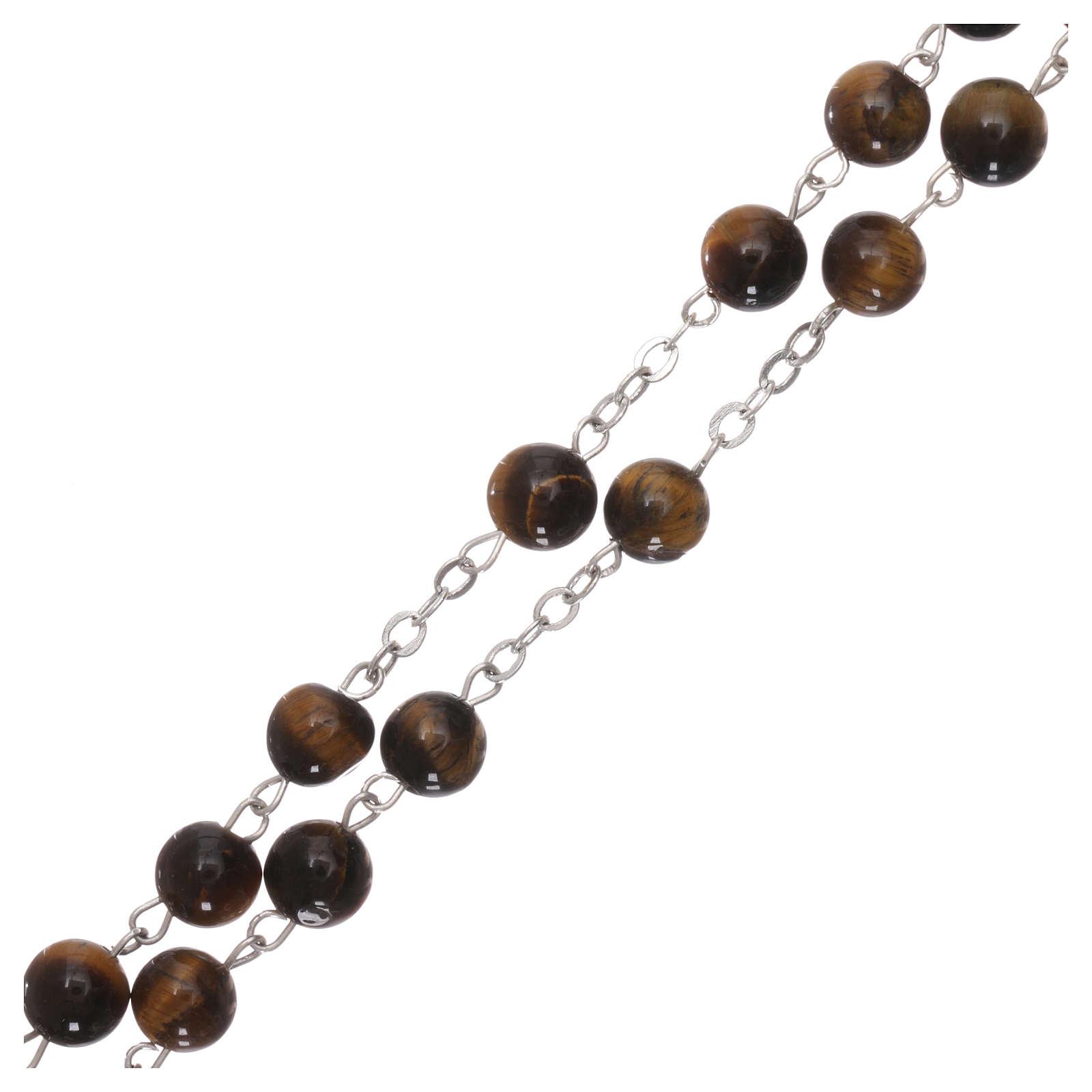 Rosario con perlas de verdadera piedra ojo tigre mm 6 4