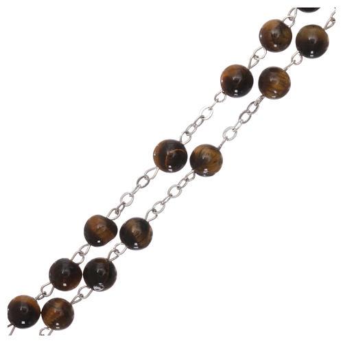 Rosario con perlas de verdadera piedra ojo tigre mm 6 3