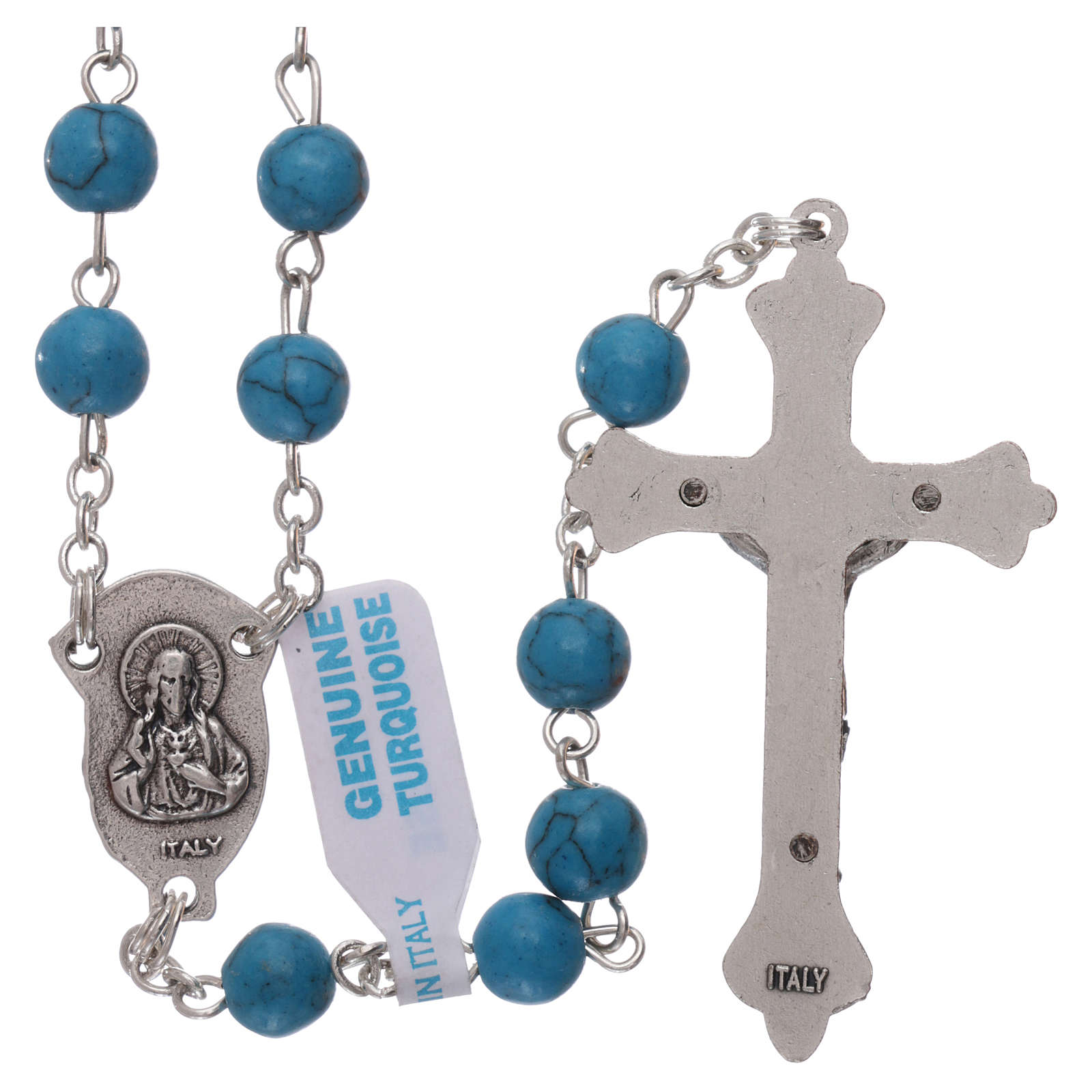 Rosary with grains in genuine turquoise 6 mm 4
