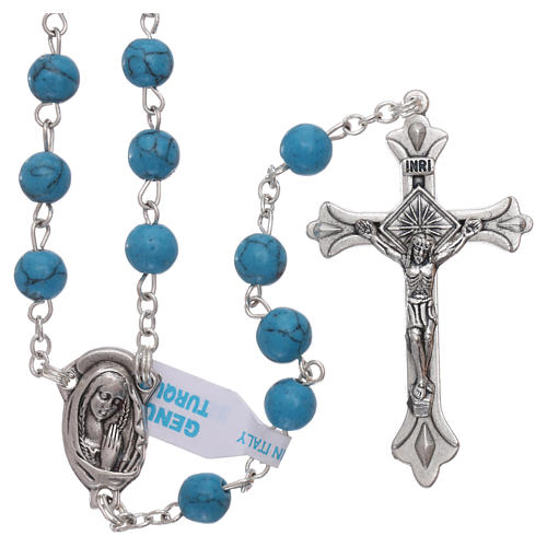 Rosary with grains in genuine turquoise 6 mm 1