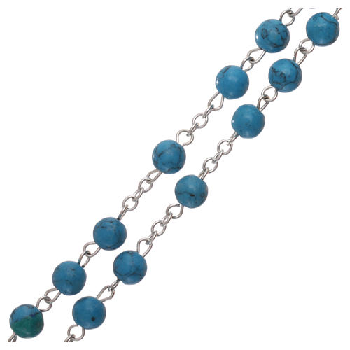 Rosary with grains in genuine turquoise 6 mm 3