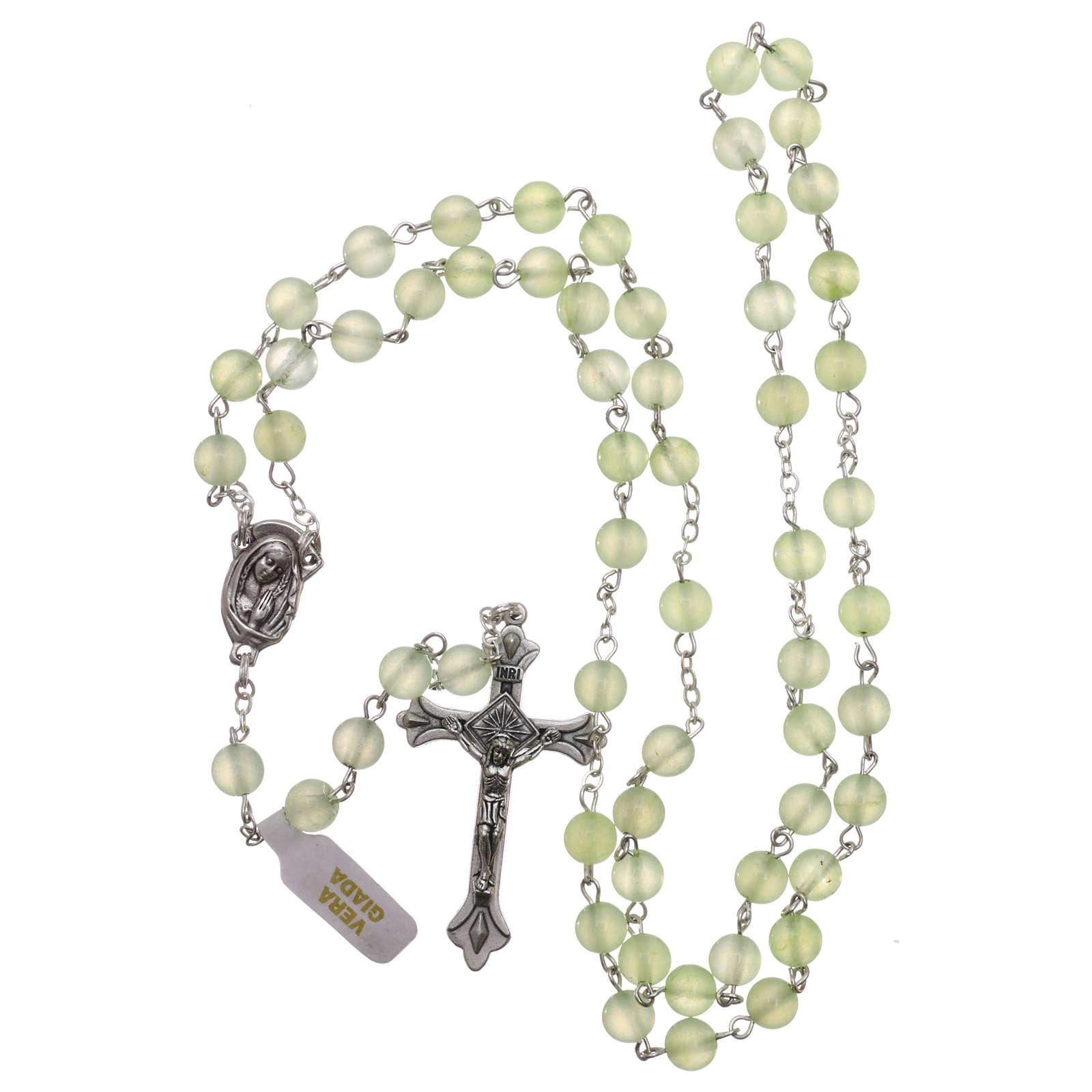 Rosario con granos de verdadera jade de mm 6 4