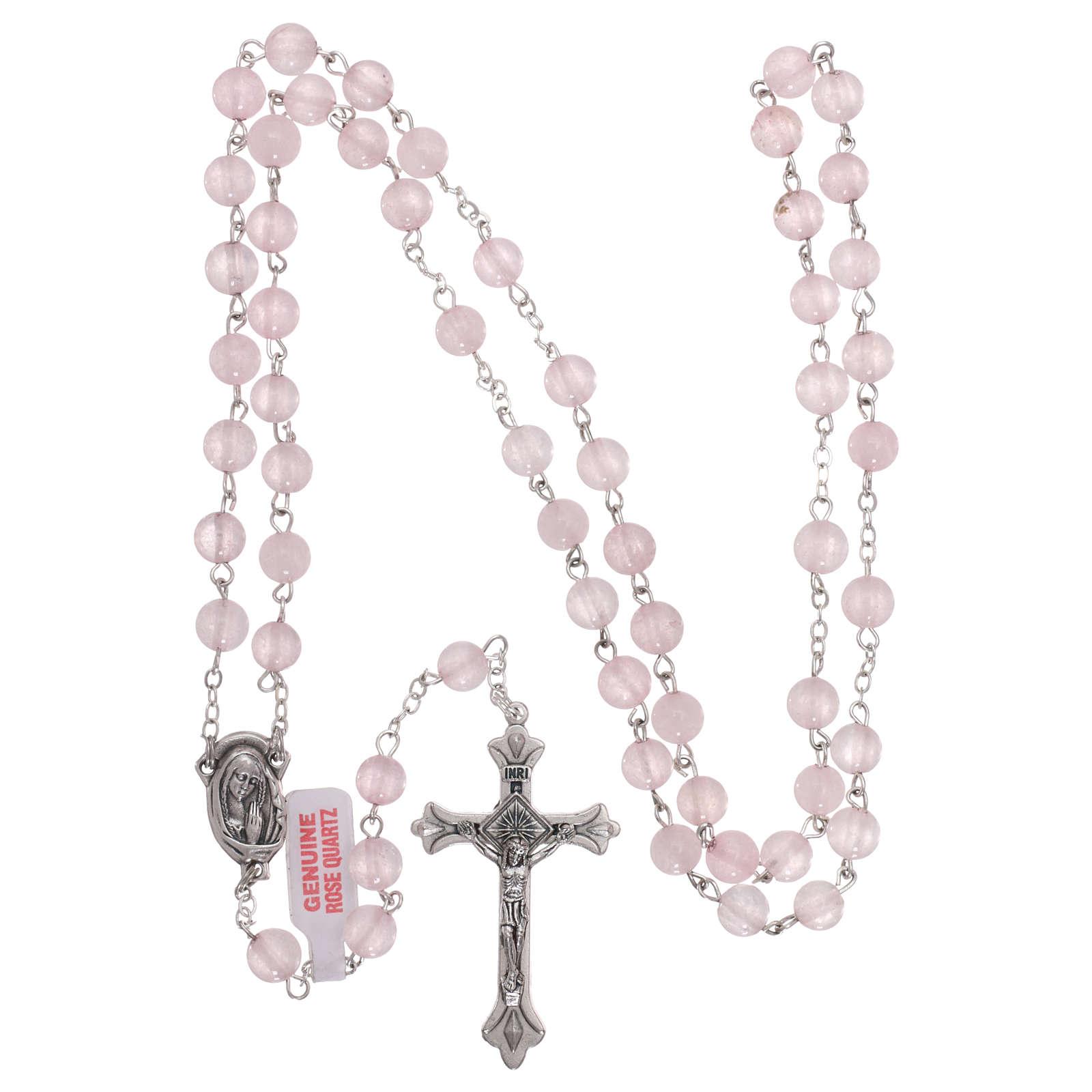 Rosario con granos de verdadera piedra cuarzo rosa mm 6 4