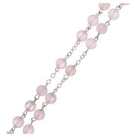 Rosario con granos de verdadera piedra cuarzo rosa mm 6 s3
