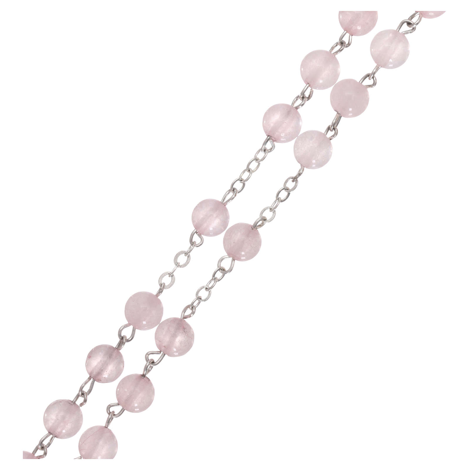 Rosario con grani in vera pietra quarzo rosa mm6 4