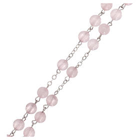 Rosario con grani in vera pietra quarzo rosa mm6 s3