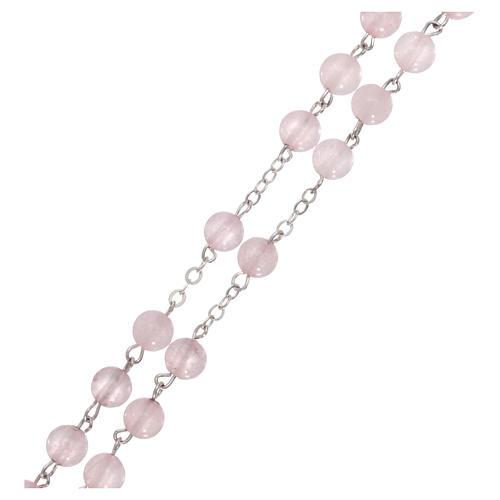 Rosario con grani in vera pietra quarzo rosa mm6 3