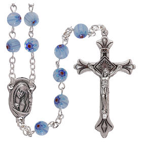 Rosary in glass murrine style with flowers and striping on light blue grains 6 mm s1