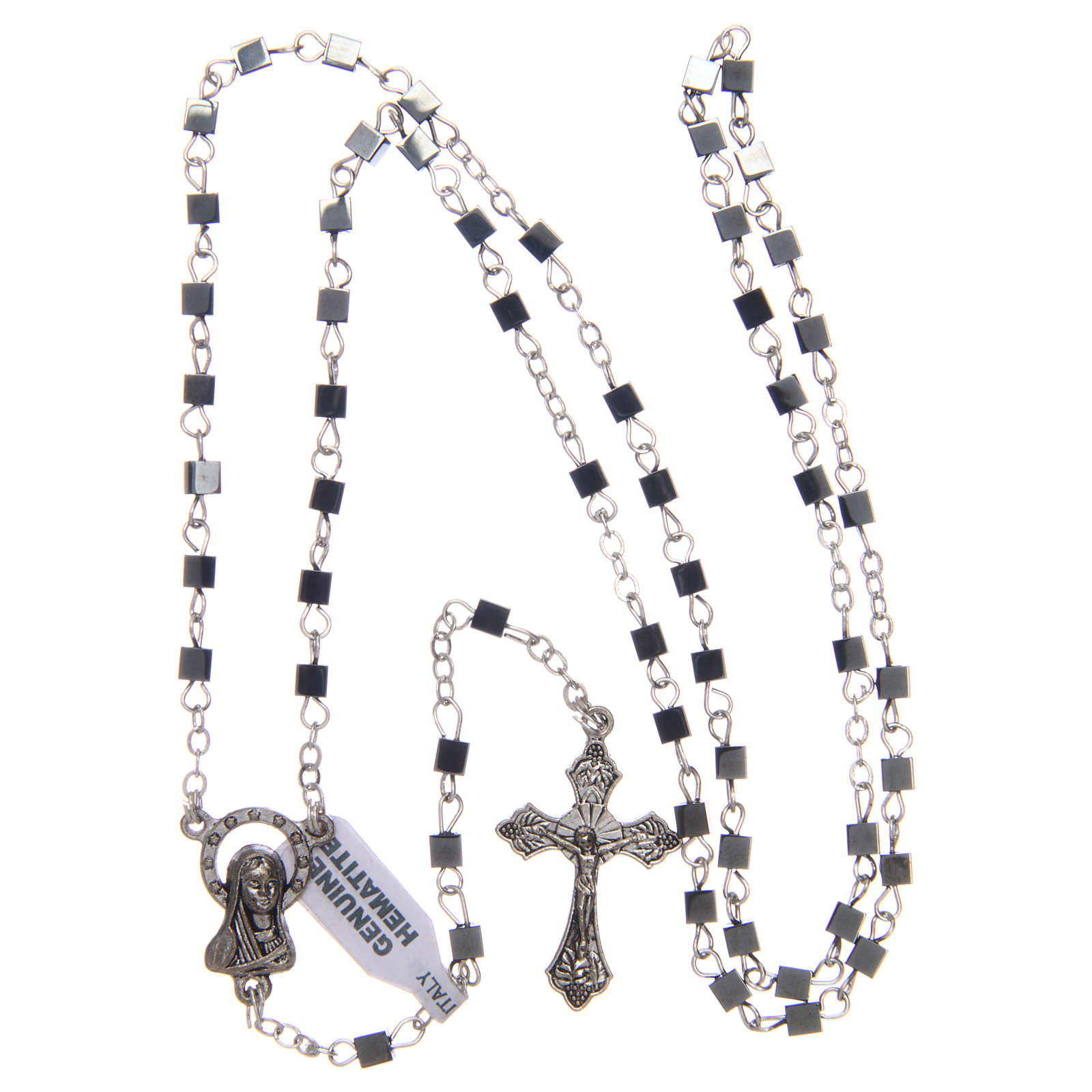 Hematite rosary with square beads 3 mm 4