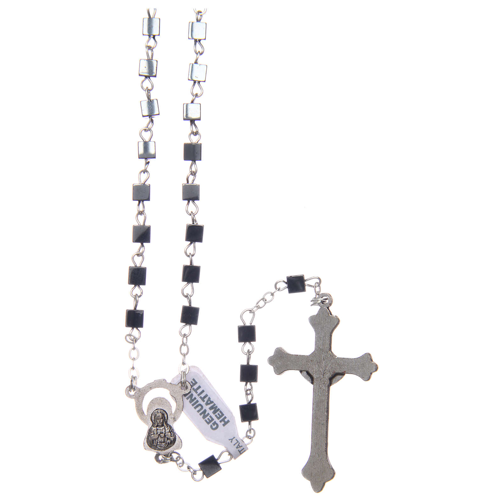 Hematite rosary with square beads 4 mm 4