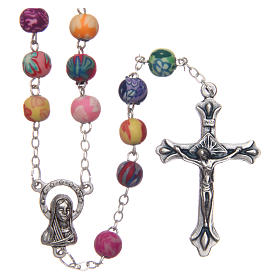 Rosary with round multicoloured fimo beads 6 mm s1