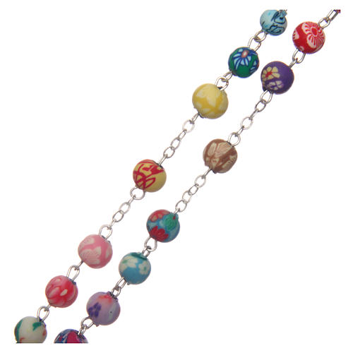 Rosary with round multicoloured fimo beads 6 mm 3