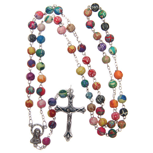Rosary with round multicoloured fimo beads 6 mm 4