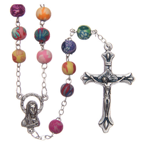 Rosary with multicolored round beads of Fimo 6 mm 1