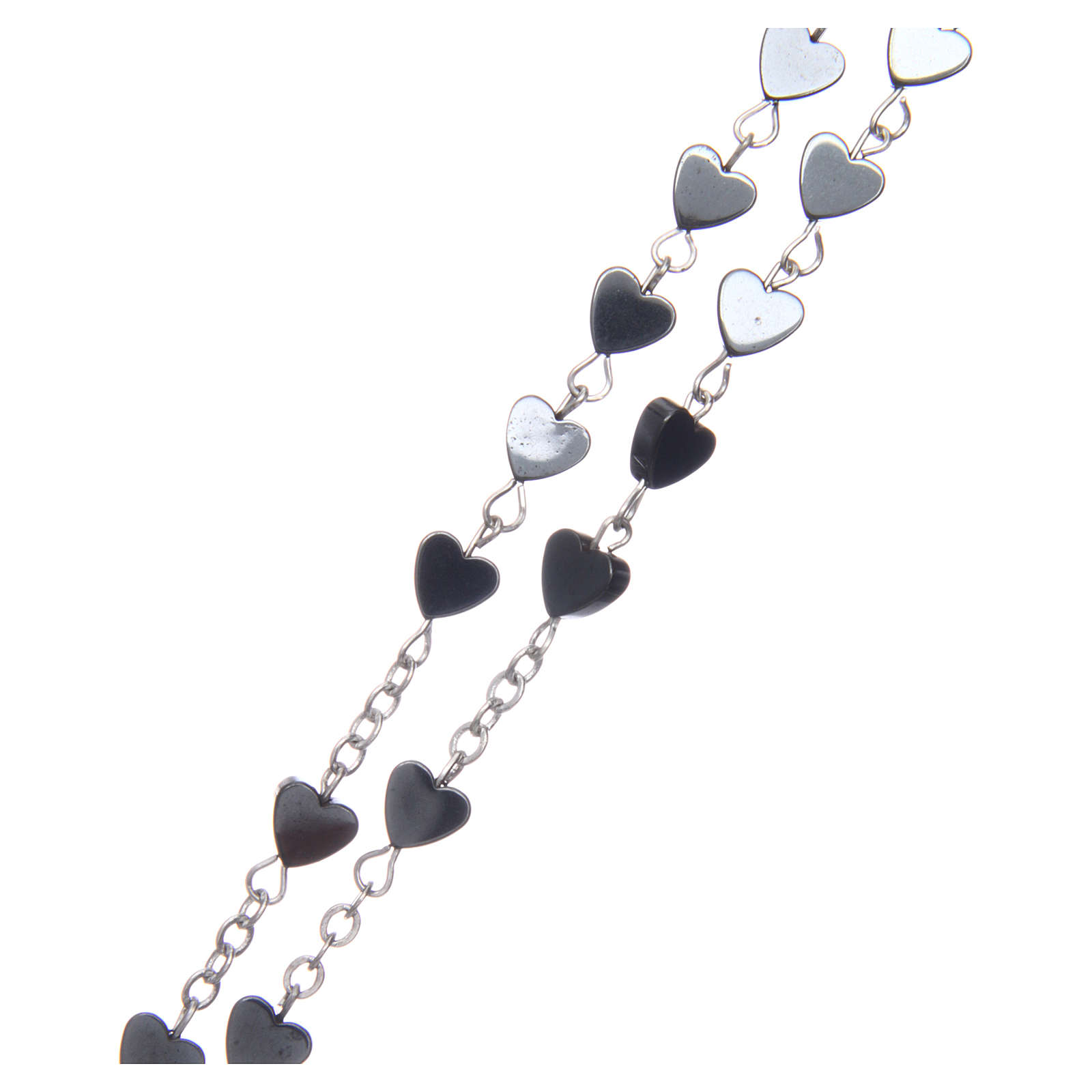 Heart-shaped hematite rosary 6 mm 4