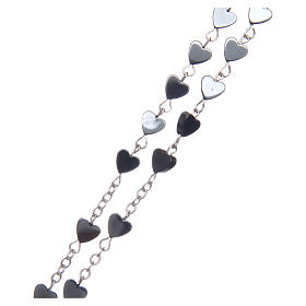Heart-shaped hematite rosary 6 mm s3