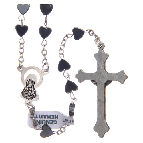 Heart-shaped hematite rosary 6 mm 2