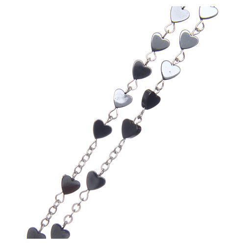 Heart-shaped hematite rosary 6 mm 3