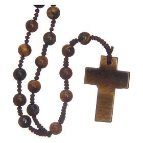 Chapelet grains ronds croix en pierre 6 mm s1