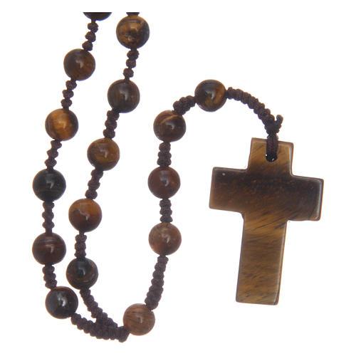 Chapelet grains ronds croix en pierre 6 mm 1