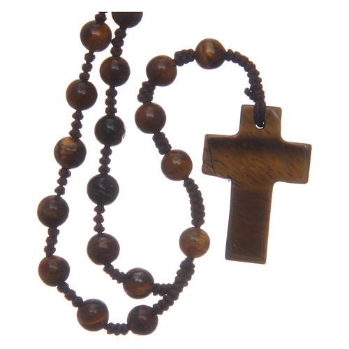 Chapelet grains ronds croix en pierre 6 mm 2