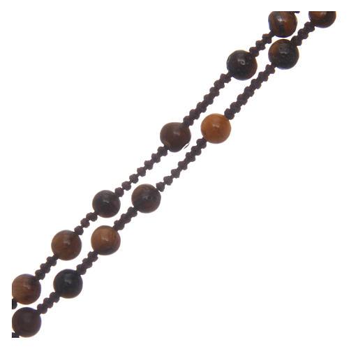 Chapelet grains ronds croix en pierre 6 mm 3