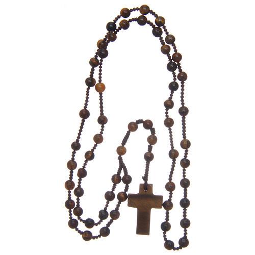 Chapelet grains ronds croix en pierre 6 mm 4