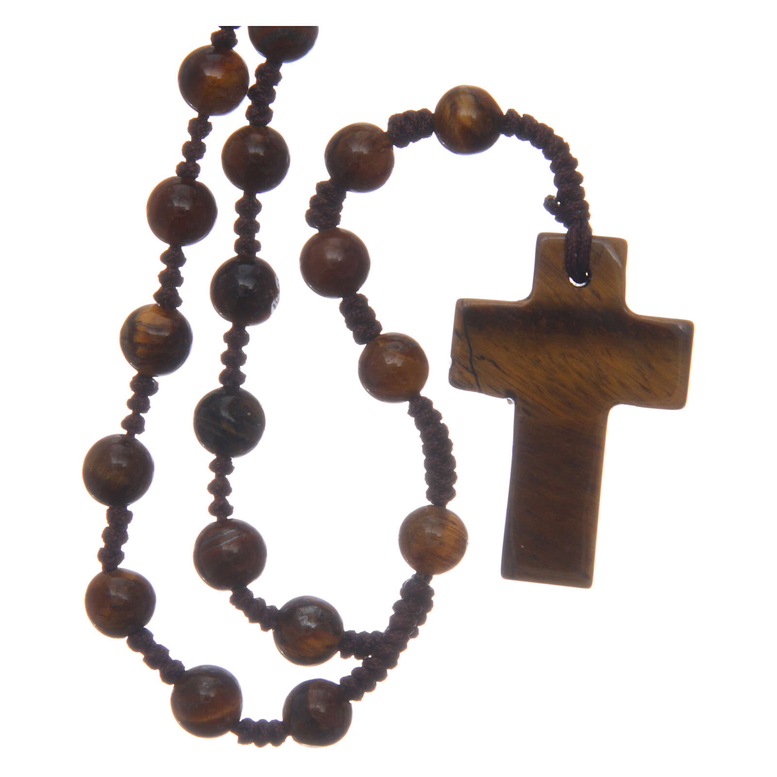 Rosary round beads and cross of stone 6 mm 4