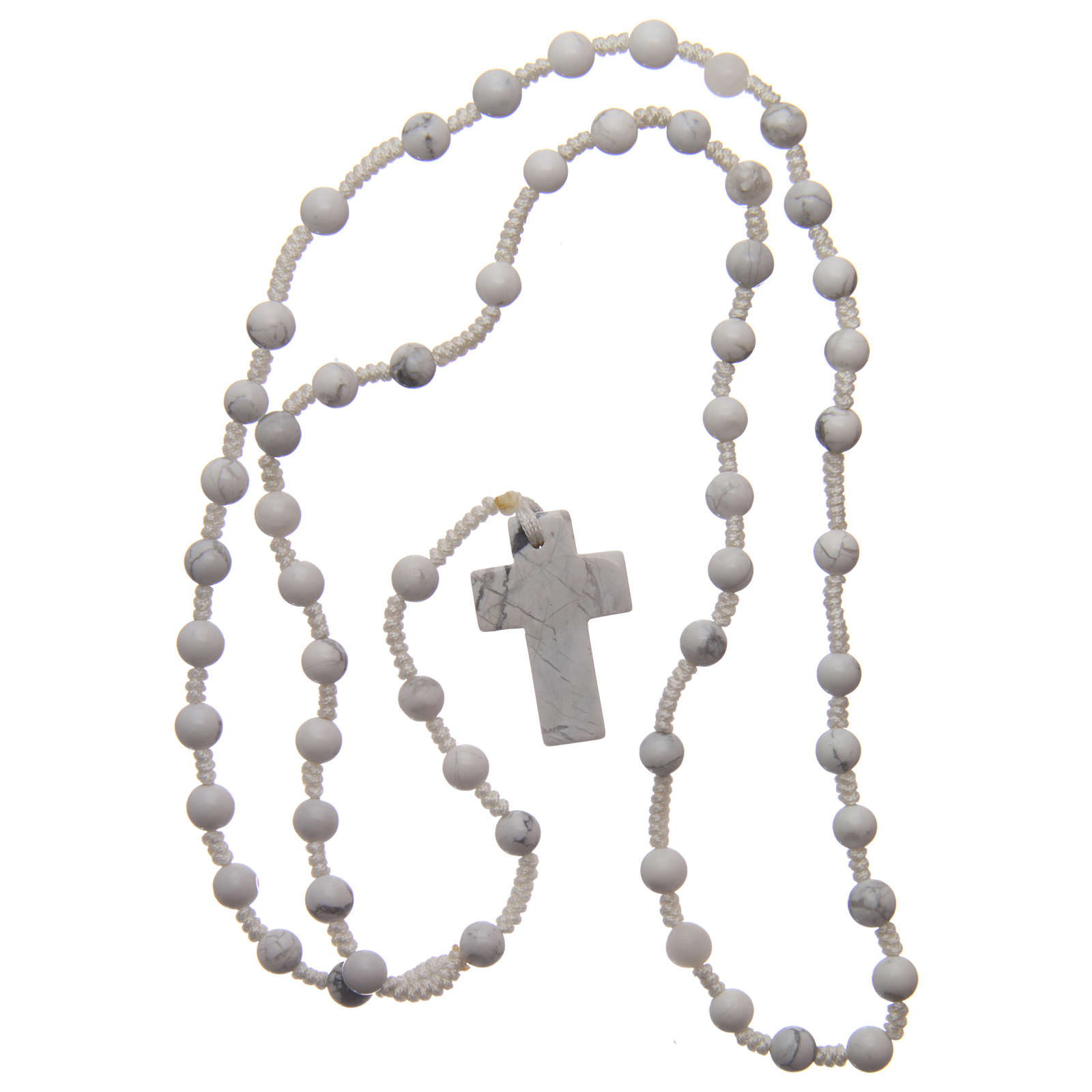 Rosary with 6mm round beads and stone cross 4