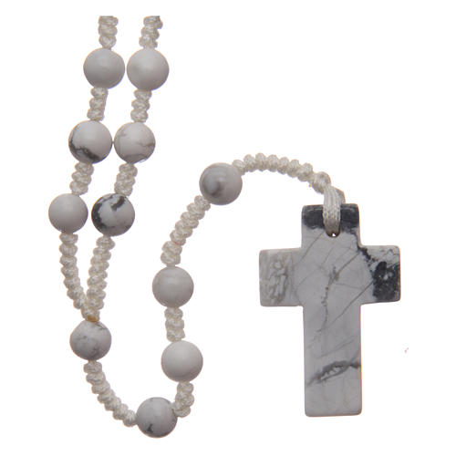 Rosary with 6mm round beads and stone cross 1