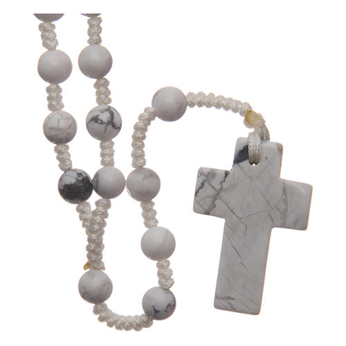 Rosary with 6mm round beads and stone cross 2