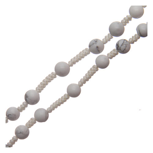 Rosary with 6mm round beads and stone cross 3