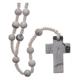 Rosario grani tondi 6 mm croce in pietra s1