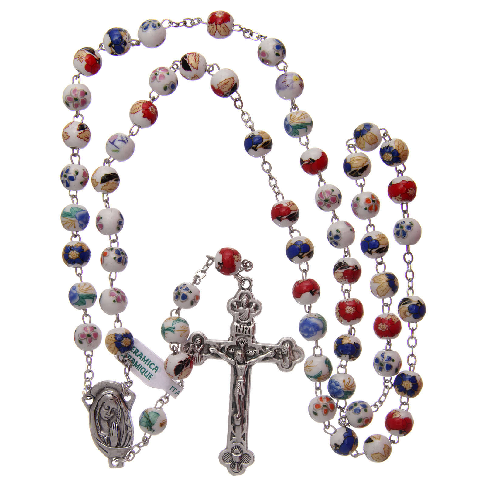 Decorated ceramic rosary with round beads 8 mm 4