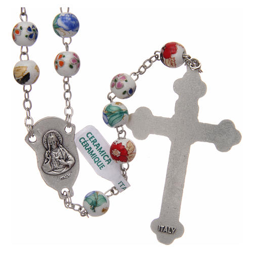 Decorated ceramic rosary with round beads 8 mm 2