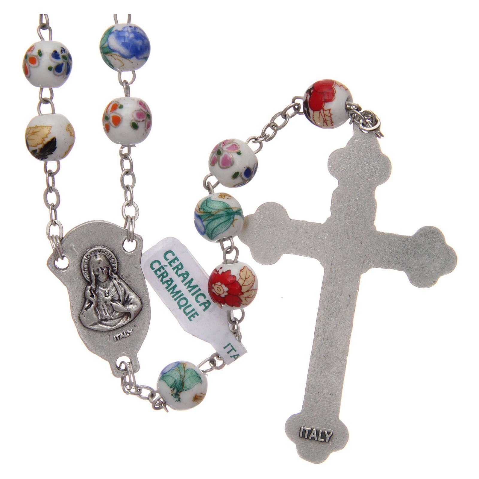 Rosary round beads of decorated ceramic 8 mm 4