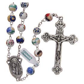 Rosary round beads of decorated ceramic 8 mm s1