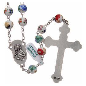 Rosary round beads of decorated ceramic 8 mm s2