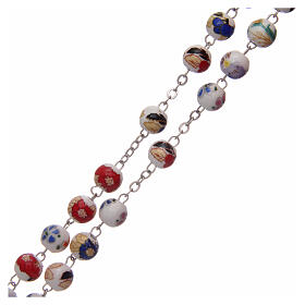 Rosary round beads of decorated ceramic 8 mm s3