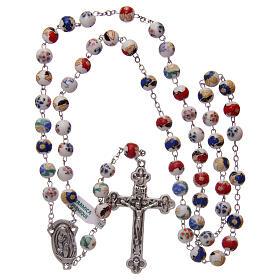 Rosary round beads of decorated ceramic 8 mm s4