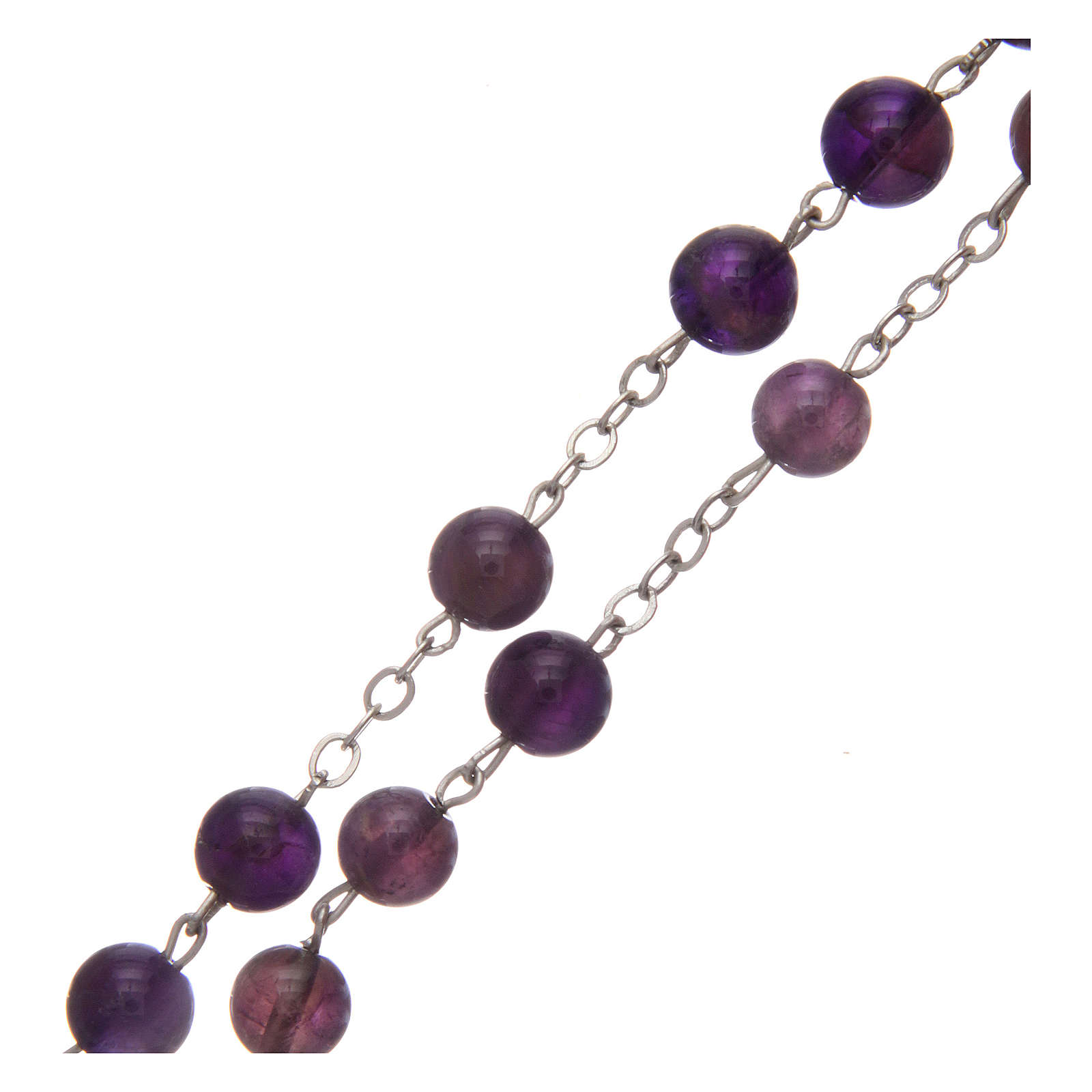 Rosary in real amethyst beads 7 mm 4