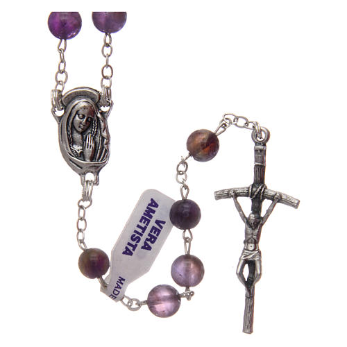 Rosary in real amethyst beads 7 mm 1