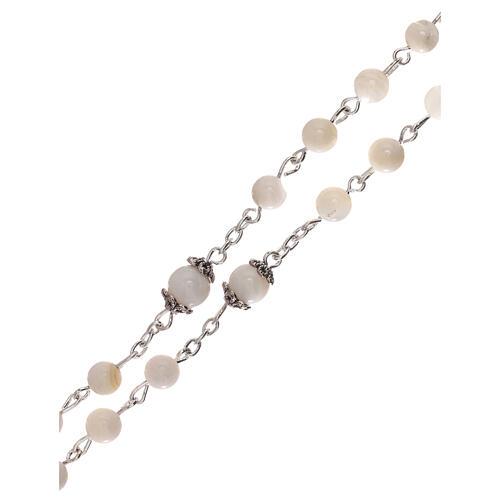 Rosario perla blanca agua dulce Virgen 4 mm 3