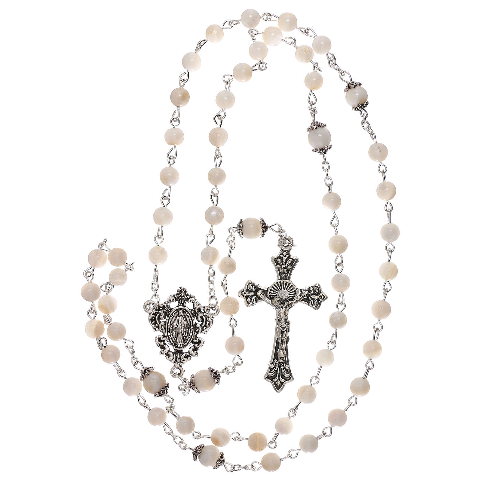 Rosary white cultured freshwater pearls Our Lady 4 mm 4
