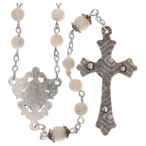 Rosary white cultured freshwater pearls Our Lady 4 mm 2