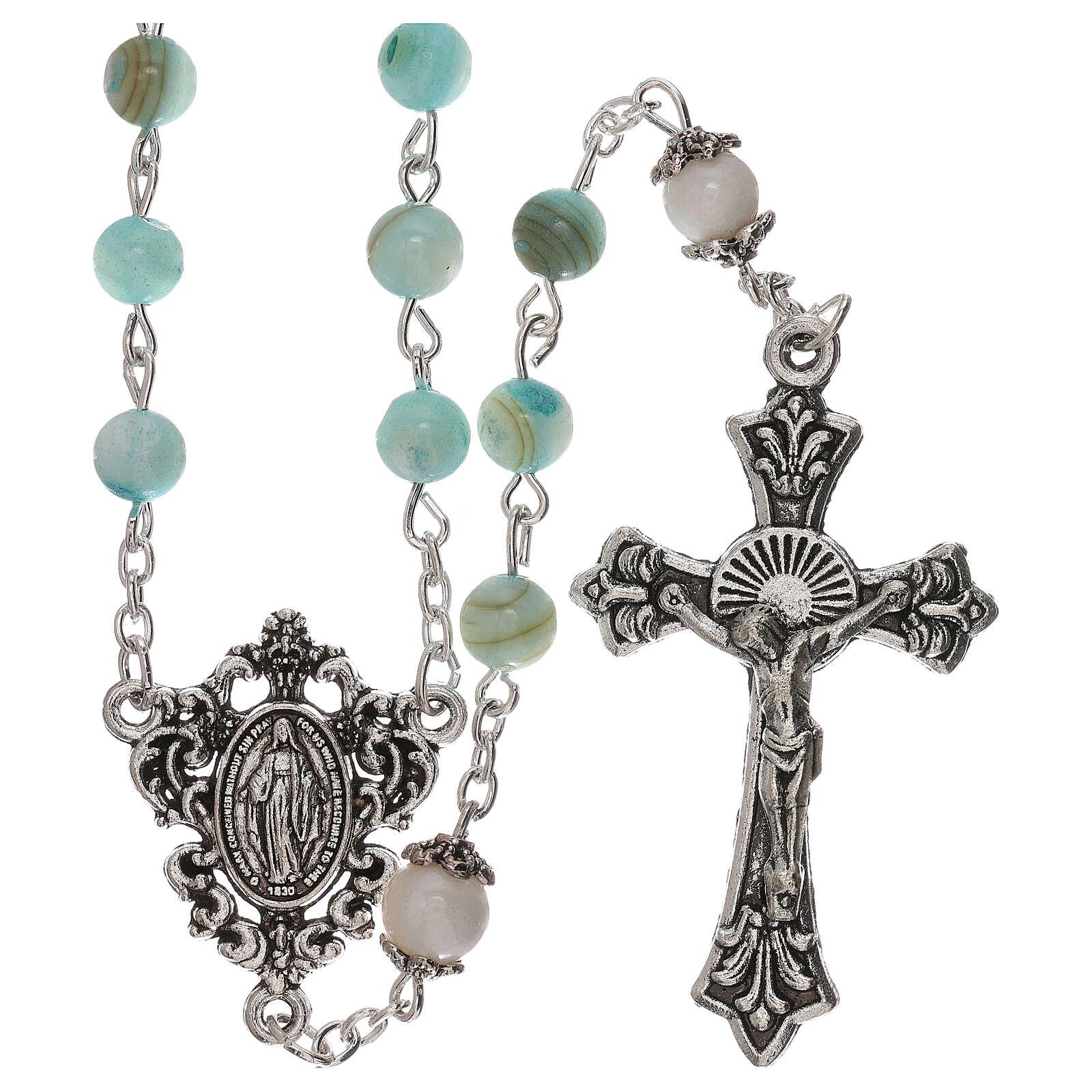 Rosario perlas agua dulce turquesa de color ámbar Virgen 4 mm 4